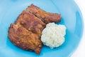 Fried chicken com arroz pegajoso Fotos de Stock Royalty Free