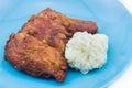 Fried chicken com arroz pegajoso Imagens de Stock Royalty Free