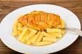 Fried chicken con pasta penne Immagine Stock Libera da Diritti