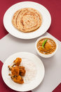 Fried chicken and curry with parotta Royalty Free Stock Photo