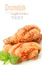 Fried chicken drumstick on white background Royalty Free Stock Images