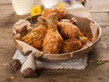 Fried chicken leg in basket selective focus Royalty Free Stock Photos