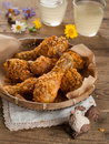 Fried chicken leg in basket selective focus Royalty Free Stock Images