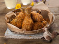 Fried chicken leg in basket selective focus Royalty Free Stock Photo