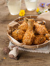 Fried chicken leg in basket selective focus Stock Photo