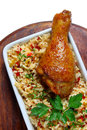Fried chicken leg with rice Royalty Free Stock Photos