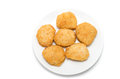 Fried chicken nuggets on a ceramic dish white background Royalty Free Stock Photography