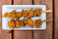 Fried chicken on the sticks Royalty Free Stock Photo