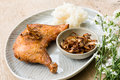 Fried chicken and sticky rice. Royalty Free Stock Photo