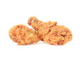 Fried chicken on white background crispy isolated only Royalty Free Stock Image