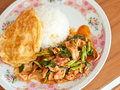 Fried chilly paste with pork egg and rice thai traditional food Stock Images