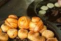 Fried Chinese bun in food market, Taipei, Taiwan. Royalty Free Stock Photo