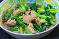 Fried chinese cabbage with pork in oyster sauce cooking the thai kitchen Royalty Free Stock Photos