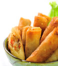 Fried chinese traditional spring broodjes Royalty-vrije Stock Foto's