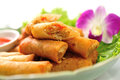 Fried chinese traditional spring broodjes Royalty-vrije Stock Foto