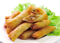 Fried chinese traditional spring broodjes Stock Foto
