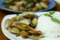 Fried clams with chili paste Royalty Free Stock Photography