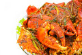 Fried Crab with curry paste Stock Photos