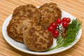 Fried cutlet with dill on a plate Stock Images