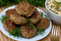 Fried cutlet with dill on a plate Royalty Free Stock Photos
