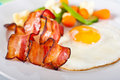 Fried egg with bacon Stock Photo
