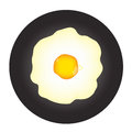 Fried egg in frying pan Stock Photo