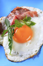 Fried egg and ham on a plate Stock Image