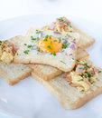 Fried egg inside toast, scrambled eggs Royalty Free Stock Photo