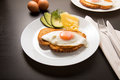 Fried egg with knife and fork Royalty Free Stock Photo