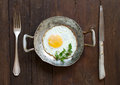 Fried egg in a old frying pan with fork and knife Royalty Free Stock Photo