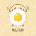 Fried egg and outline alarm clock on seamless background with linear food icons. Vector design for breakfast menu, cafe. Royalty Free Stock Photo