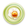 Fried egg on plate isolated white Stock Photography