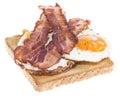 Fried egg sandwich bacon isolated white background Royalty Free Stock Image
