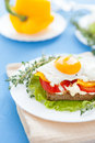 Fried egg on a sandwich with vegetables Royalty Free Stock Image