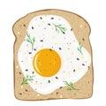 Fried egg on toast bread. Delicious egg sandwich. Vector illustration.