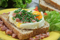Fried eggs with ham on toast Stock Photography
