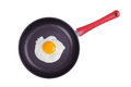 Fried eggs on a large griddle round Royalty Free Stock Image