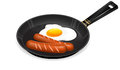 Fried eggs and sausage on pan Royalty Free Stock Photos