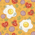 Fried eggs seamless pattern Royalty Free Stock Photo
