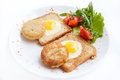 Fried eggs with toast Royalty Free Stock Photo