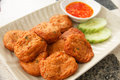 Fried fish cakes thai food stock image cake with sweet and sour sauce Royalty Free Stock Photos