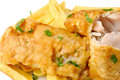 Fried fish and chips Royalty Free Stock Photo