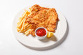 Fried fish and chips on the white plate Royalty Free Stock Photo