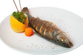 Fried fish decorated with lemon carrots and vegetables Royalty Free Stock Photos