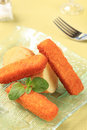Fried fish fingers Stock Photos