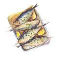 The fried fish with a lemon isolated on white background, watercolor illustration.