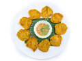 Fried fish patty on white background banana leaf Stock Photography