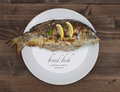 Fried fish on plate Royalty Free Stock Photo