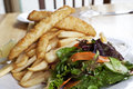 Fried fish and potatoes with salad Royalty Free Stock Image