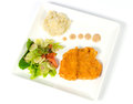 Fried fish with salad and mashed potatoes. Royalty Free Stock Photo